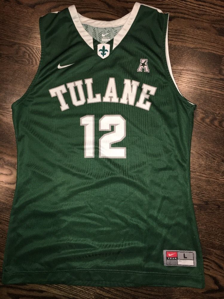 38b3b17f2 Game Worn Tulane Green Wave Basketball Jersey Used Nike Men s  12 ...