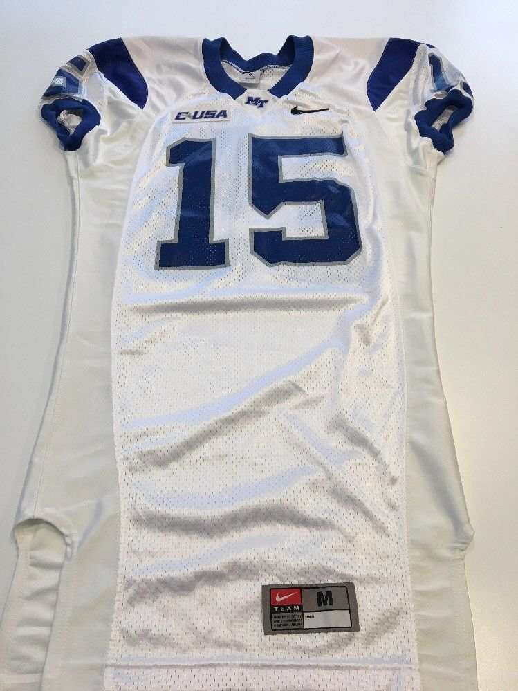 517bfdb96 Game Worn Used Nike Middle Tennessee St Blue Raiders Football Jersey Size M  ...