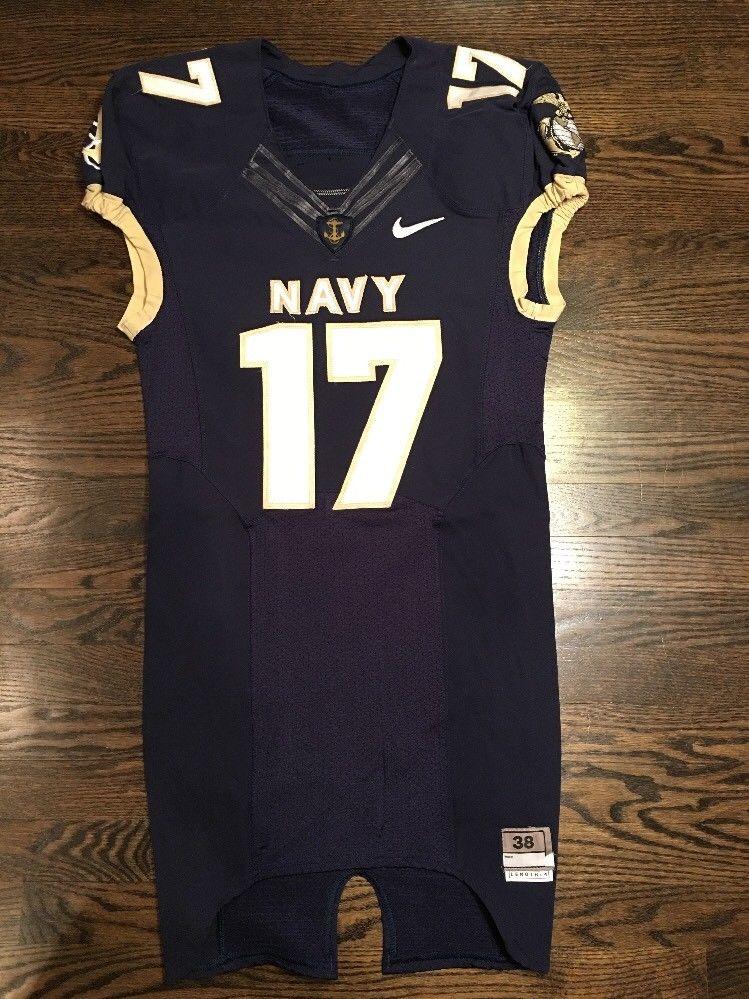 Game Worn Used Navy Midshipmen Football Jersey USNA Naval Academy Nike Sz 38 #17