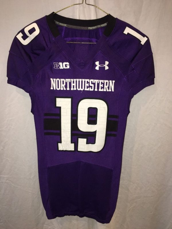 half off d684f aa2c5 Game Worn Northwestern Wildcats Football Jersey Used Under Armour #19 Size  38
