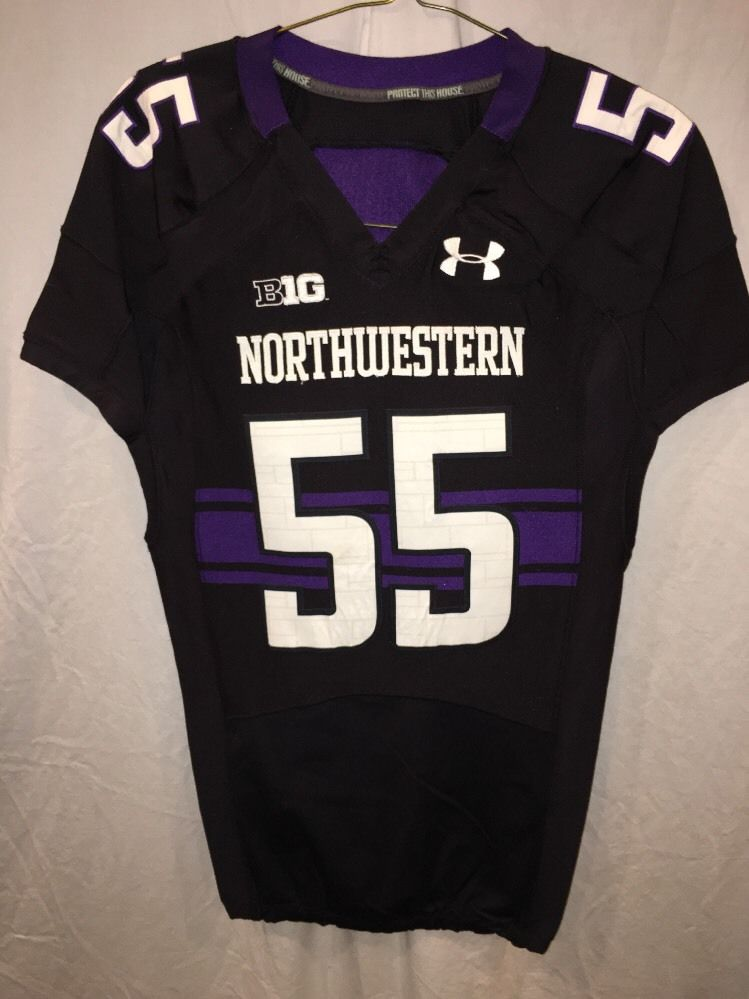 size 40 34c0a 34a38 Game Worn Northwestern Wildcats Football Jersey Used Under Armour #55