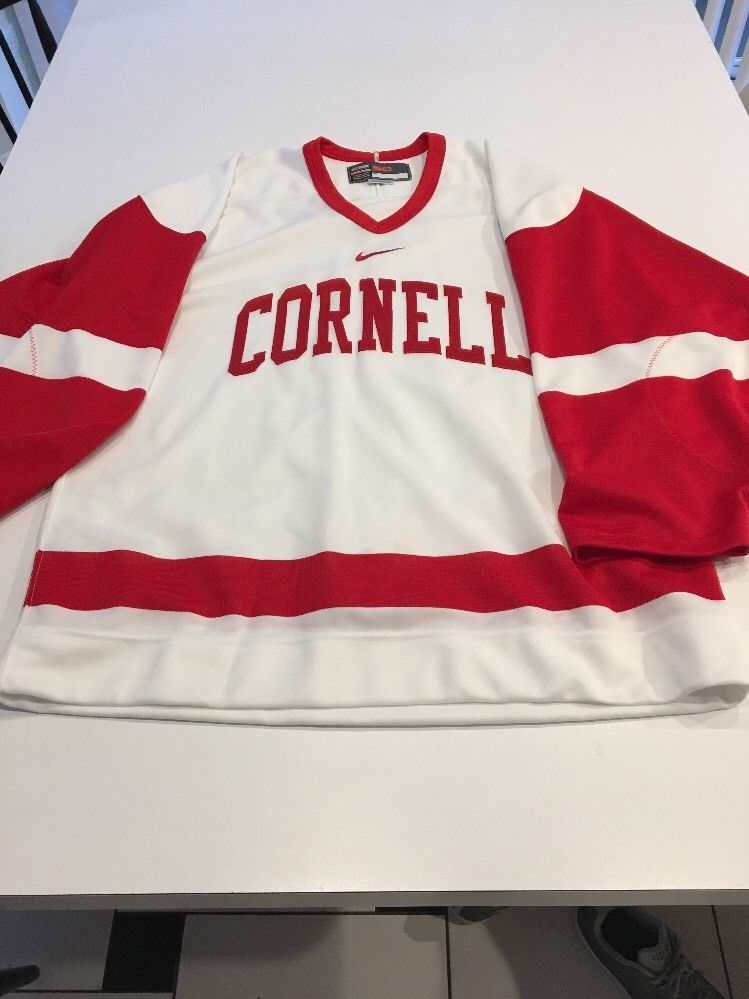 Game Worn Used Cornell Big Red Hockey Jersey Nike Bauer Blank Size ... 116a5a82285