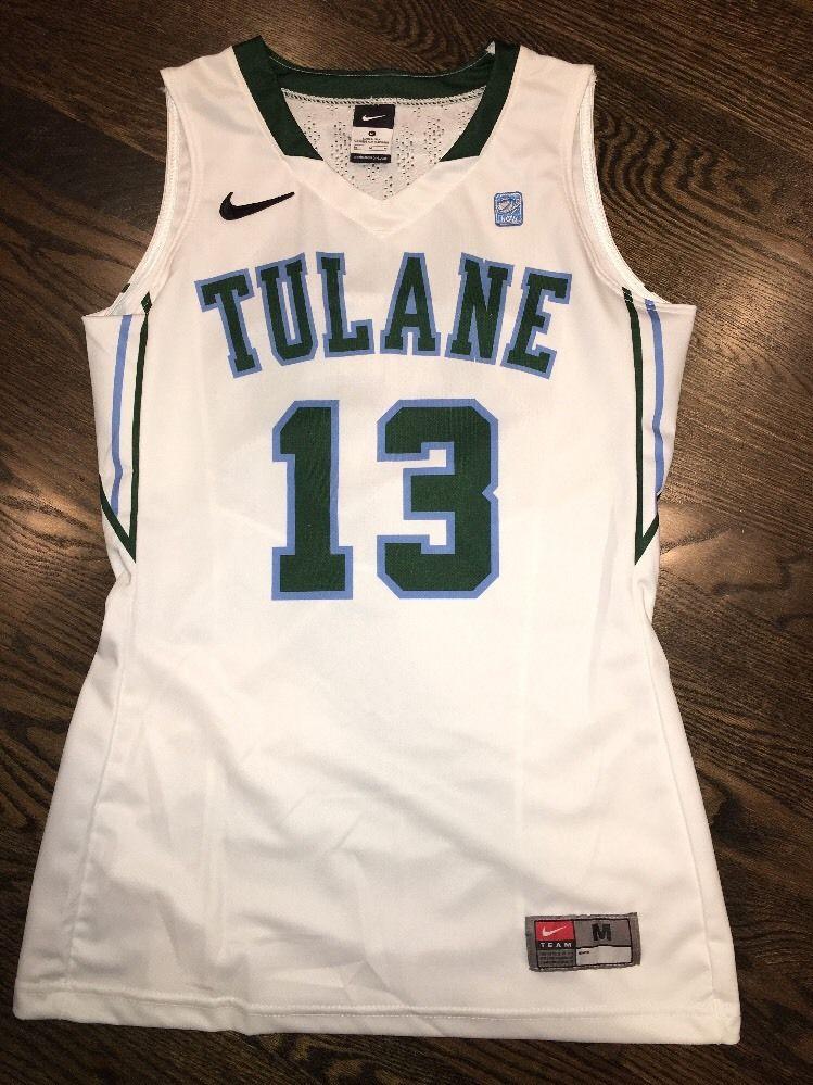 watch 48287 e6cf4 Game Worn Tulane Green Wave Basketball Jersey Used Nike Womens #13 Size M