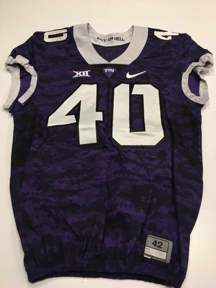 Game Worn Used Nike TCU Horned Frogs Football Jersey  40 Size 42 ... 31079b88b