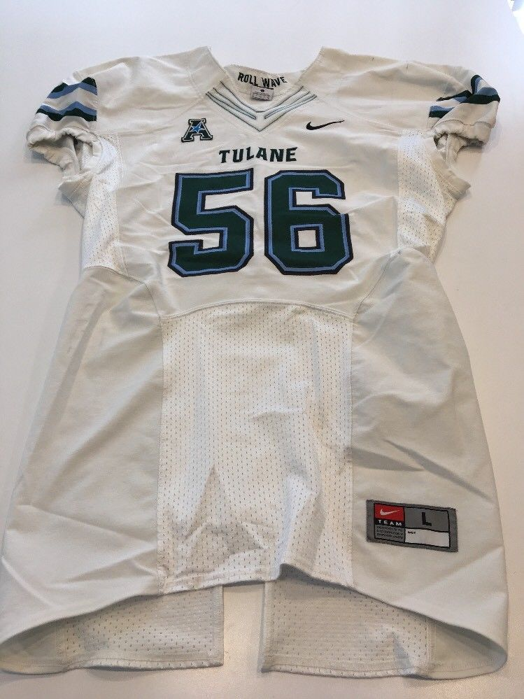 separation shoes 7e09b 783cd Game Worn Used Nike Tulane Green Wave Football Jersey Size Large #56