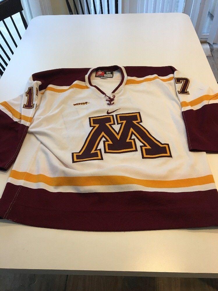 best sneakers c8eec 3152e Game Worn Used Minnesota Golden Gophers Hockey Jersey Size 56 #17 Nike