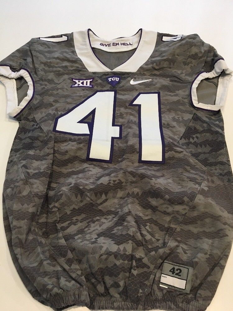 Game Worn Used Nike TCU Horned Frogs Football Jersey  41 Size 42 ... 7c362f671