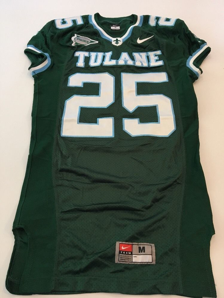 c62d44431 Game Worn Used Nike Tulane Green Wave Football Jersey  25 Size M NFL ...