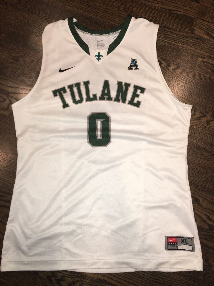 f2d86f494 Game Worn Tulane Green Wave Basketball Jersey Used Nike Men s  0 Size XL